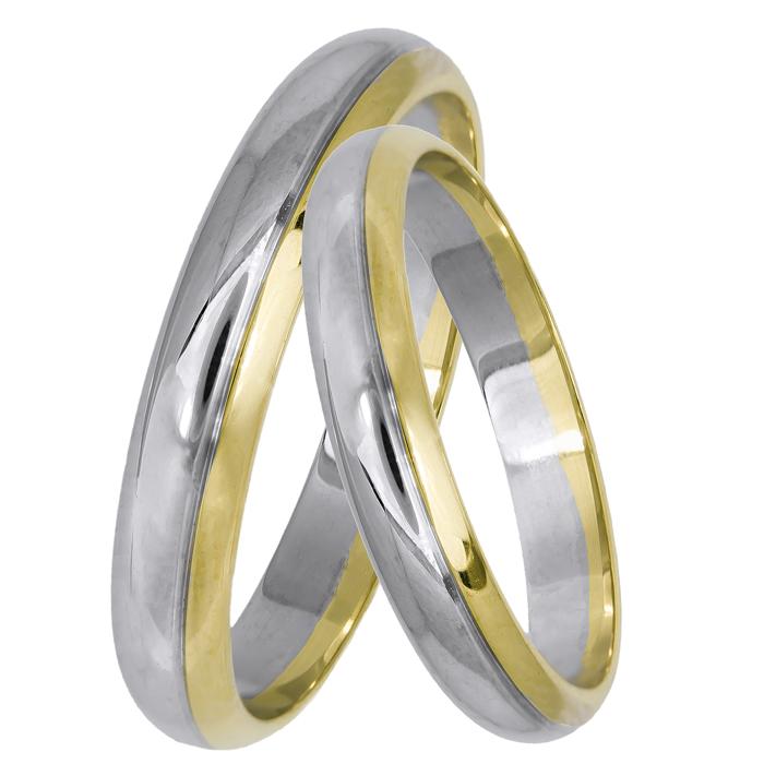 Κλασικές βέρες γάμου δίχρωμες Κ14 025032 025032 Χρυσός 14 Καράτια