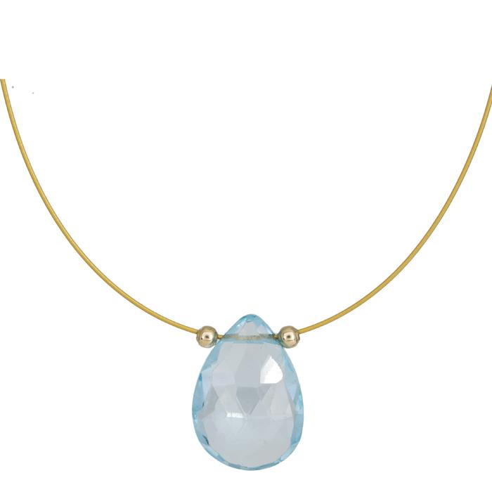 Κολιέ με πέτρα Aqua drop Κ14 025050 025050 Χρυσός 14 Καράτια