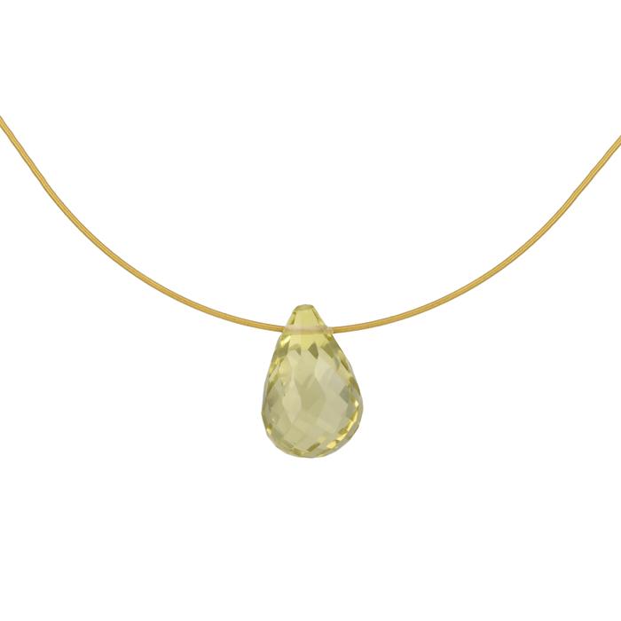 Κολιέ με πέτρα lemon quartz Κ14 025056 025056 Χρυσός 14 Καράτια