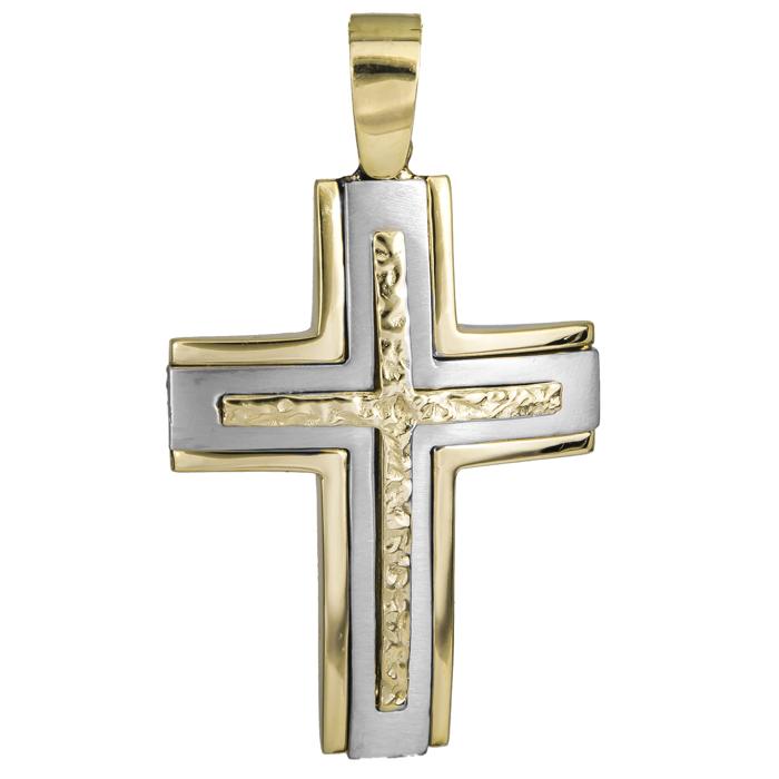 Σταυροί Βάπτισης - Αρραβώνα Δίχρωμος αντρικός σταυρός 14Κ 025091 025091 Ανδρικό Χρυσός 14 Καράτια
