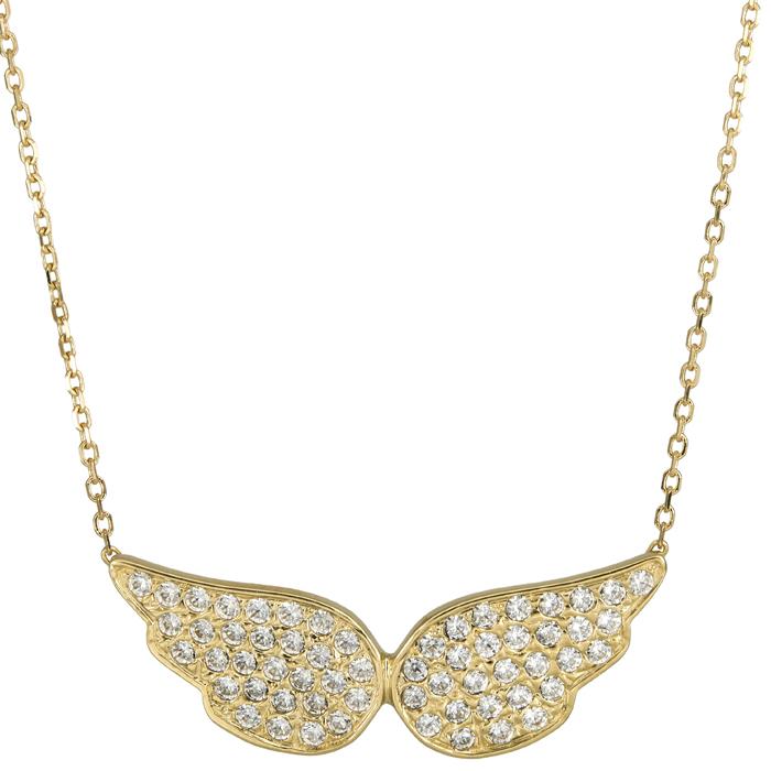 Κολιέ φτερά με πέτρες 14Κ 025093 025093 Χρυσός 14 Καράτια