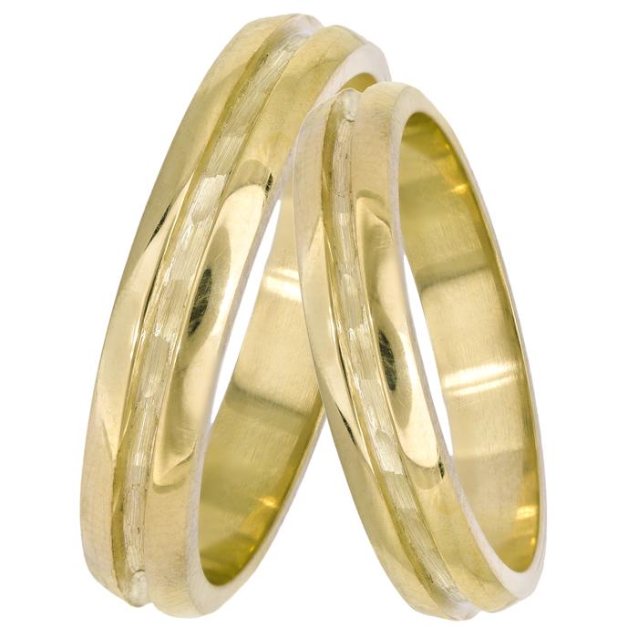 Βέρες γάμου χρυσές ανάγλυφες 14Κ 025099 025099 Χρυσός 14 Καράτια
