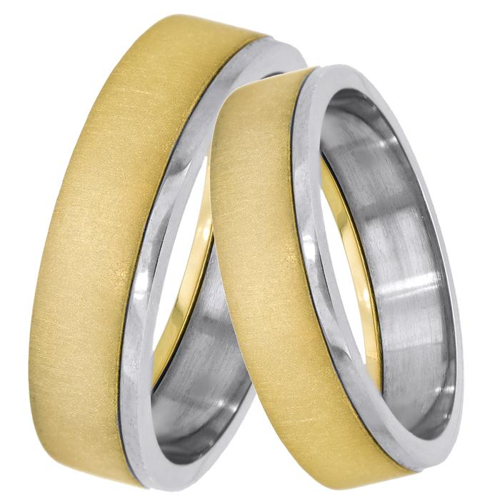 Δίχρωμες ματ βέρες γάμου 14Κ 025108 025108 Χρυσός 14 Καράτια