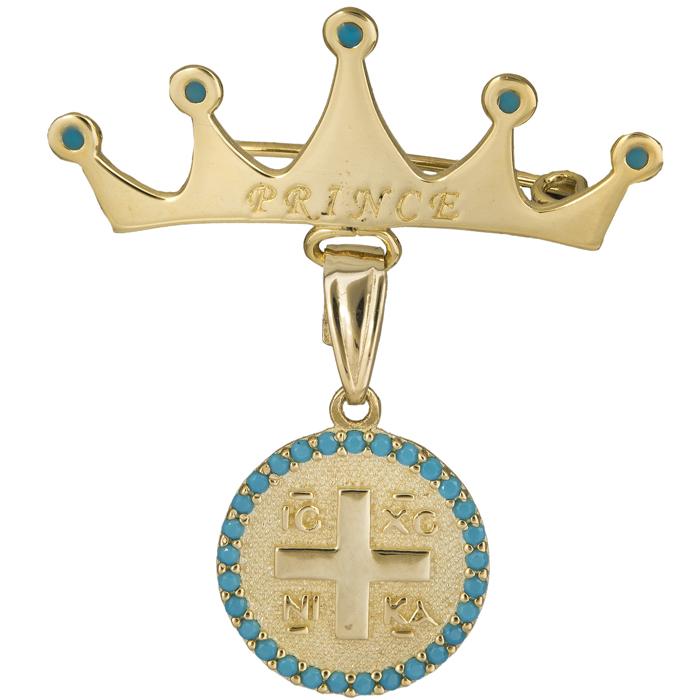 Παραμάνα κορώνα με Κωνσταντινάτο Κ9 025130 025130 Χρυσός 9 Καράτια