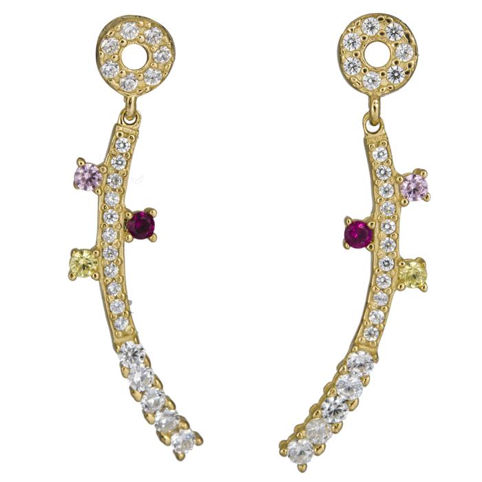 Γυναικεία σκουλαρίκια με πέτρες Κ14 025167 025167 Χρυσός 14 Καράτια