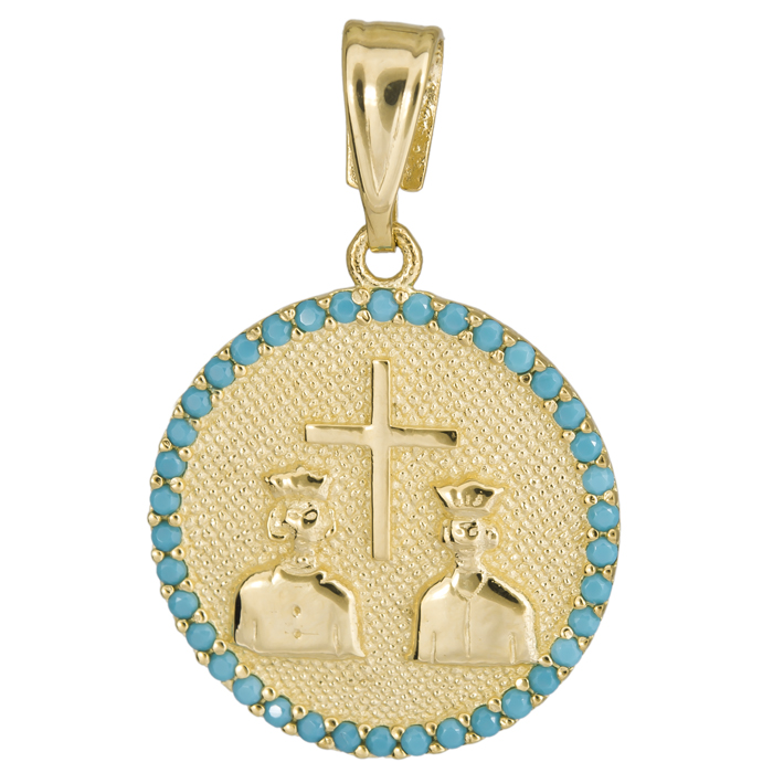 Παιδικό Κωνσταντινάτο με τυρκουάζ πέτρες 14Κ 025170 025170 Χρυσός 14 Καράτια