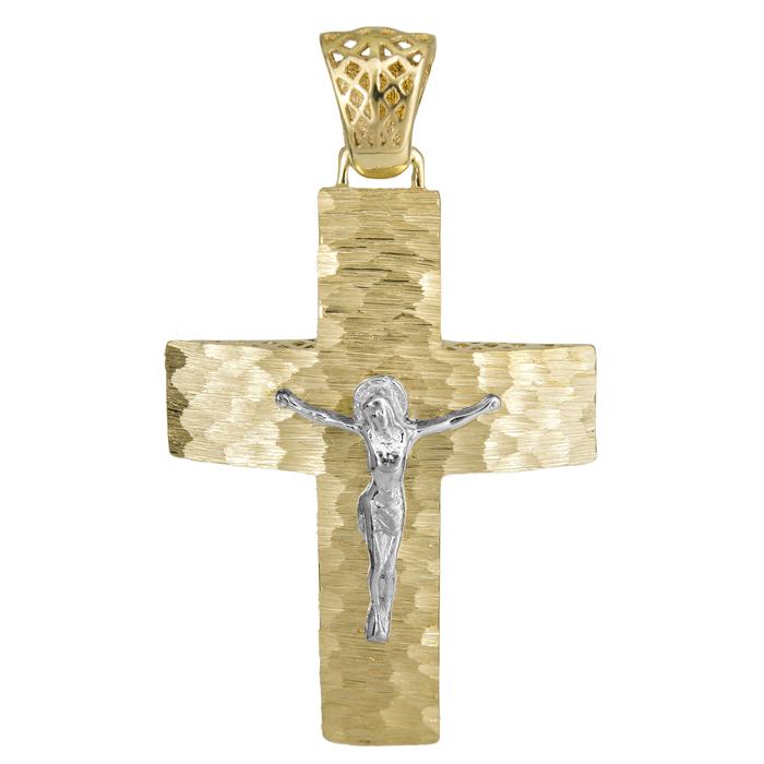 Σταυροί Βάπτισης - Αρραβώνα Ανάγλυφος σταυρός με τον Εσταυρωμένο 14Κ 025200 025200 Ανδρικό Χρυσός 14 Καράτια