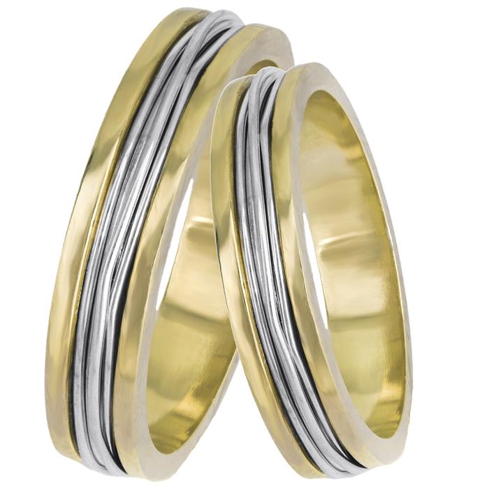 Βέρες γάμου δίχρωμες Κ14 συρματερές 025202 025202 Χρυσός 14 Καράτια