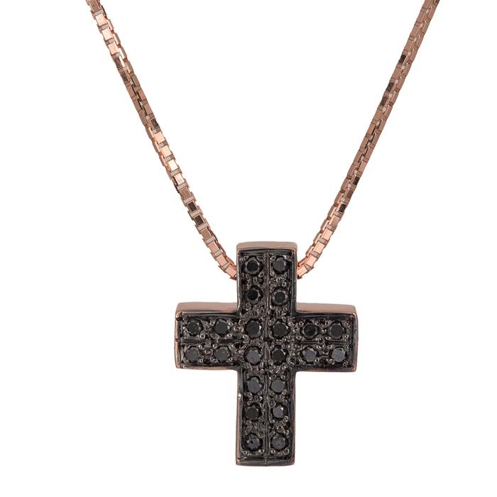 Βαπτιστικοί Σταυροί με Αλυσίδα Ροζ gold σταυρός με μαύρα διαμάντια Κ18 025203 025203 Γυναικείο Χρυσός 18 Καράτια