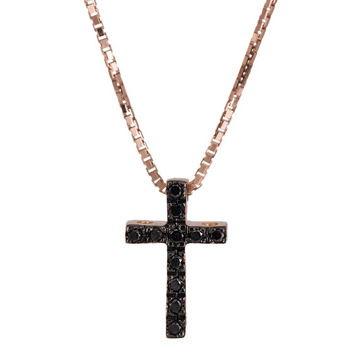 Ροζ Gold σταυρός με μαύρα διαμάντια Κ18 025204 025204 Χρυσός 18 Καράτια χρυσά κοσμήματα σταυροί