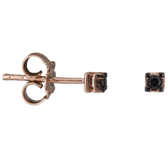 Ροζ gold σκουλαρίκια με μαύρα διαμάντια Κ18 025213 025213 Χρυσός 18 Καράτια