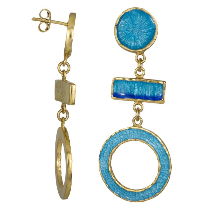 Σκουλαρίκια με μπλε σμάλτο 925 025217 025217 Ασήμι
