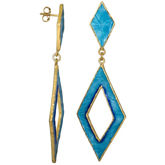 Σκουλαρίκια ρόμβοι με μπλε σμάλτο 925 025218 025218 Ασήμι