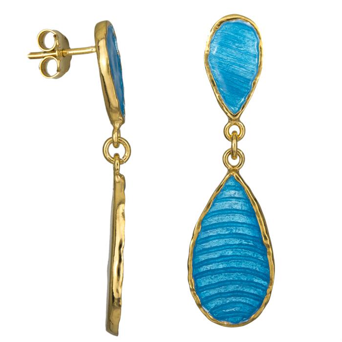 Επίχρυσα γυναικεία σκουλαρίκια 925 025219 025219 Ασήμι