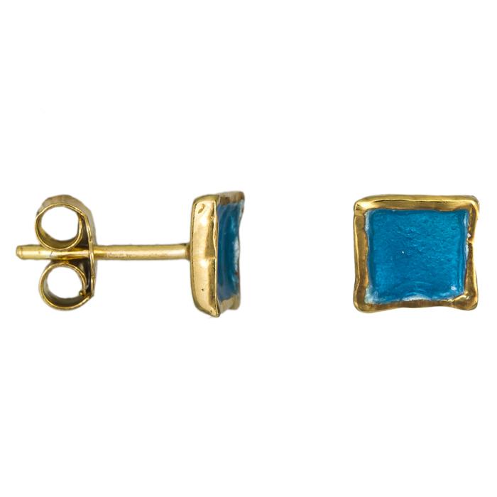 Σκουλαρίκια επίχρυσα με μπλε σμάλτο 925 025221 025221 Ασήμι