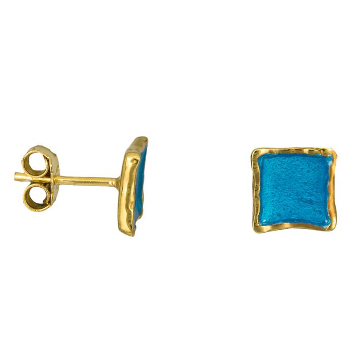 Σκουλαρίκια με μπλε σμάλτο 925 025222 025222 Ασήμι