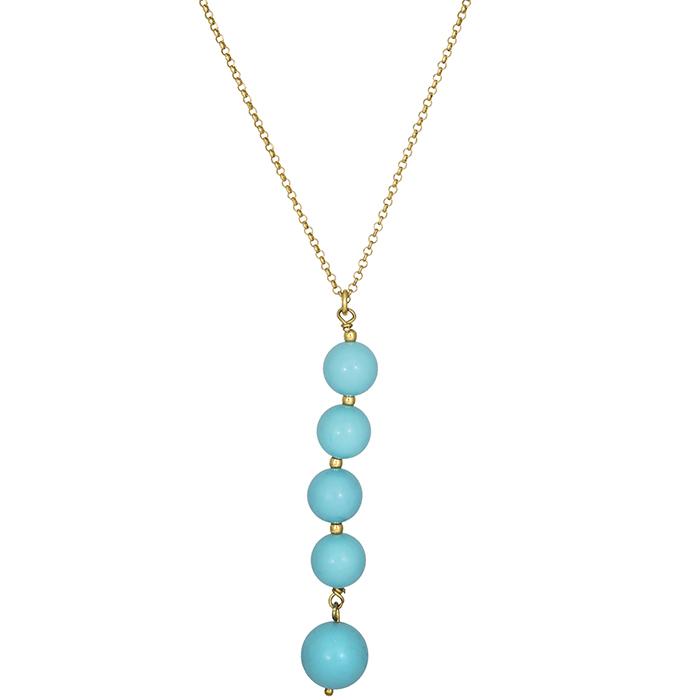 Επίχρυσο κολιέ με γαλάζιες πέτρες 925 025234 025234 Ασήμι
