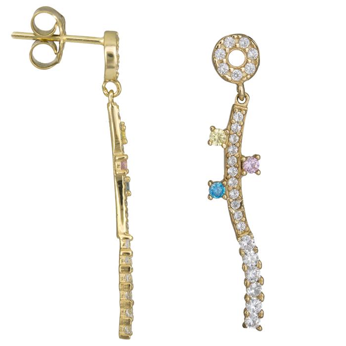 Γυναικεία πετράτα σκουλαρίκια Κ14 025303 025303 Χρυσός 14 Καράτια