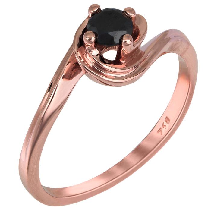 Ροζ gold μονόπετρο με μαύρο μπριγιάν Κ18 025340 025340 Χρυσός 18 Καράτια