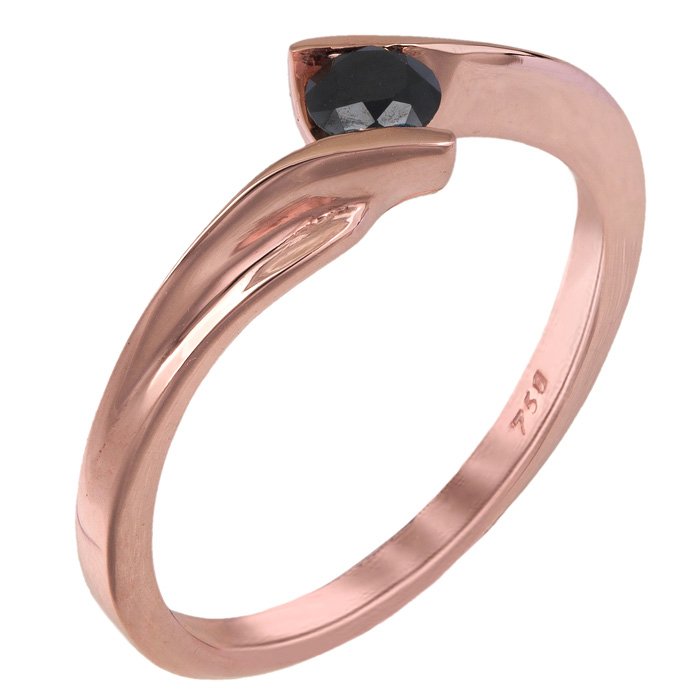 Ροζ gold μονόπετρο με μαύρο διαμάντι Κ18 025342 025342 Χρυσός 18 Καράτια