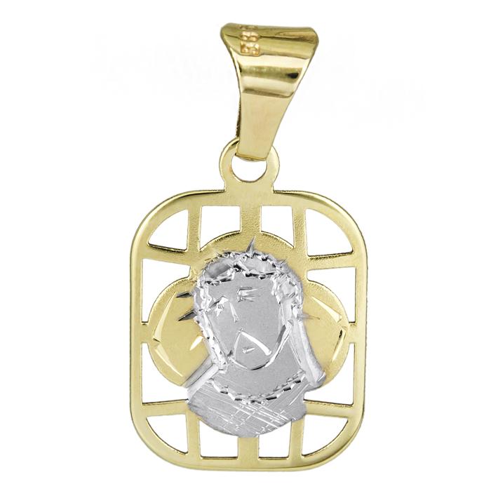 Δίχρωμο φυλαχτό με τον Χριστό Κ14 025411 025411 Χρυσός 14 Καράτια