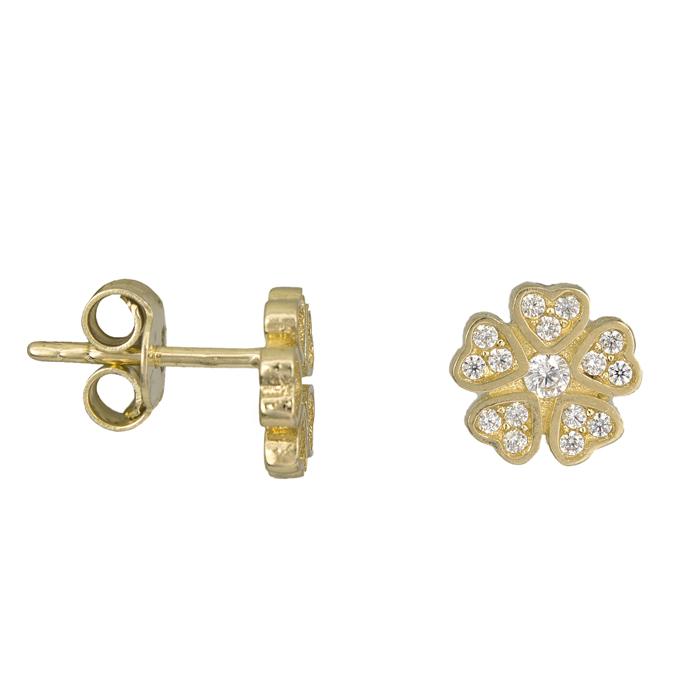 Χρυσά σκουλαρίκια τριφύλλι Κ14 025496 025496 Χρυσός 14 Καράτια