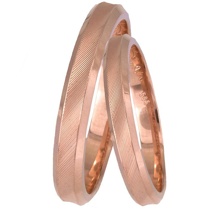 Ροζ χρυσές βέρες Κ14 ζαγρέ φαλτσαριστές 025503 025503 Χρυσός 14 Καράτια