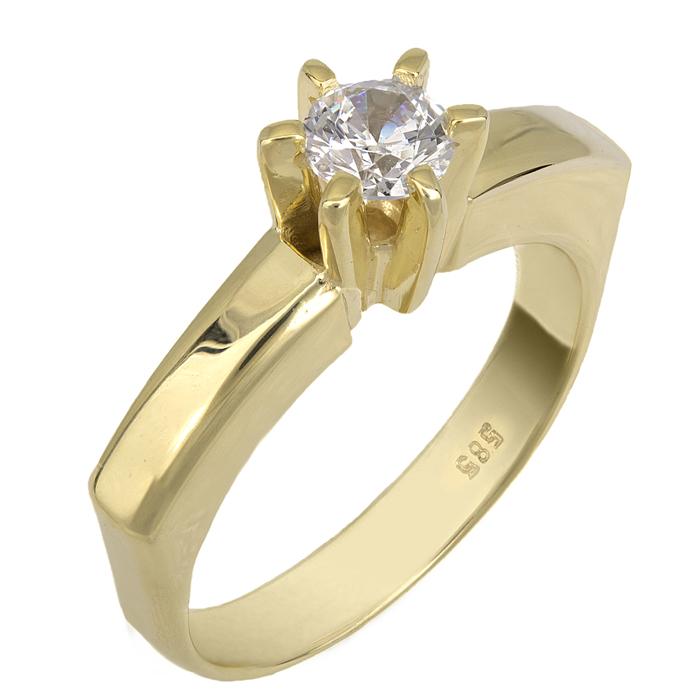 Swarovski μονόπετρο χρυσό Κ14 με γωνίες 025519 025519 Χρυσός 14 Καράτια