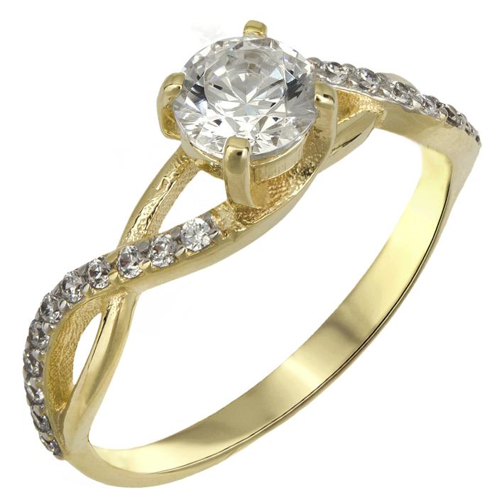 Χρυσό δαχτυλίδι swarovski Κ14 με πλαϊνές πέτρες 025522 025522 Χρυσός 14 Καράτια