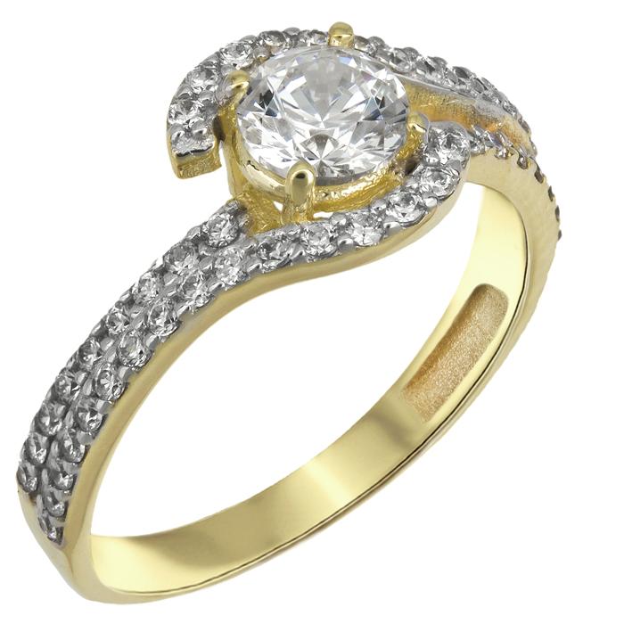 Δαχτυλίδι χειροποίητο με πέτρες swarovski χρυσό Κ14 025524 025524 Χρυσός 14 Καράτια