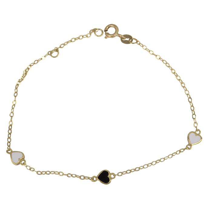 Γυναικείο βραχιόλι με καρδούλες 9Κ 025529 025529 Χρυσός 9 Καράτια