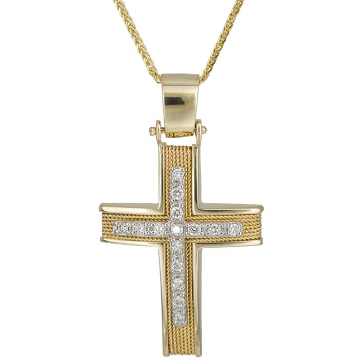 Βαπτιστικοί Σταυροί με Αλυσίδα Συρματερός σταυρός με διαμάντια Κ18 025541C 025541C Γυναικείο Χρυσός 18 Καράτια
