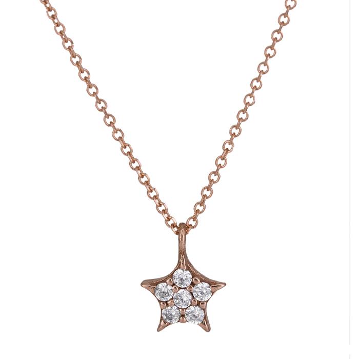 Ροζ gold κολιέ αστεράκι Κ14 025542 025542 Χρυσός 14 Καράτια