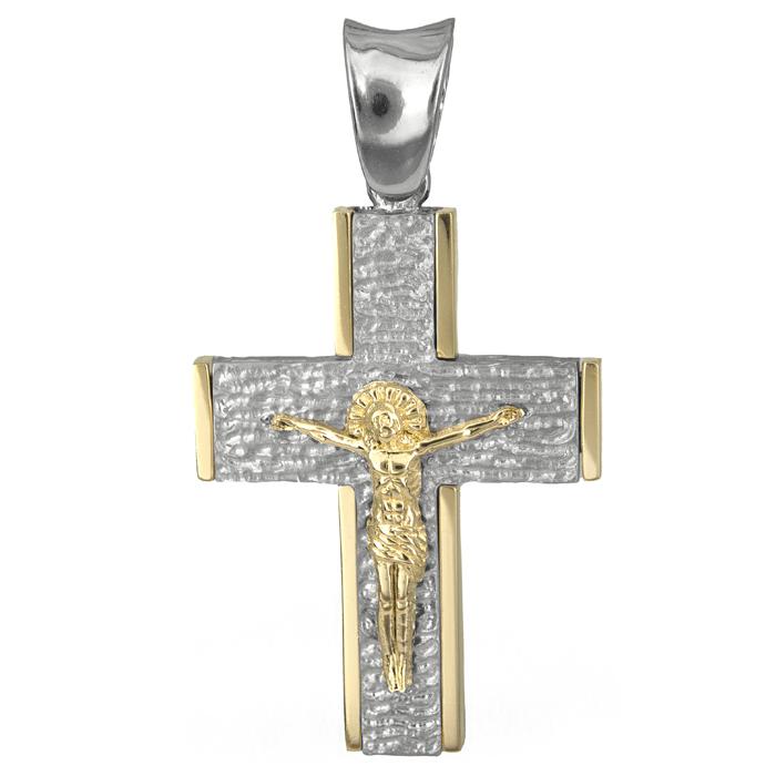 Σταυροί Βάπτισης - Αρραβώνα Αντρικός σταυρός με τον Εσταυρωμένο Κ18 025555 025555 Ανδρικό Χρυσός 18 Καράτια