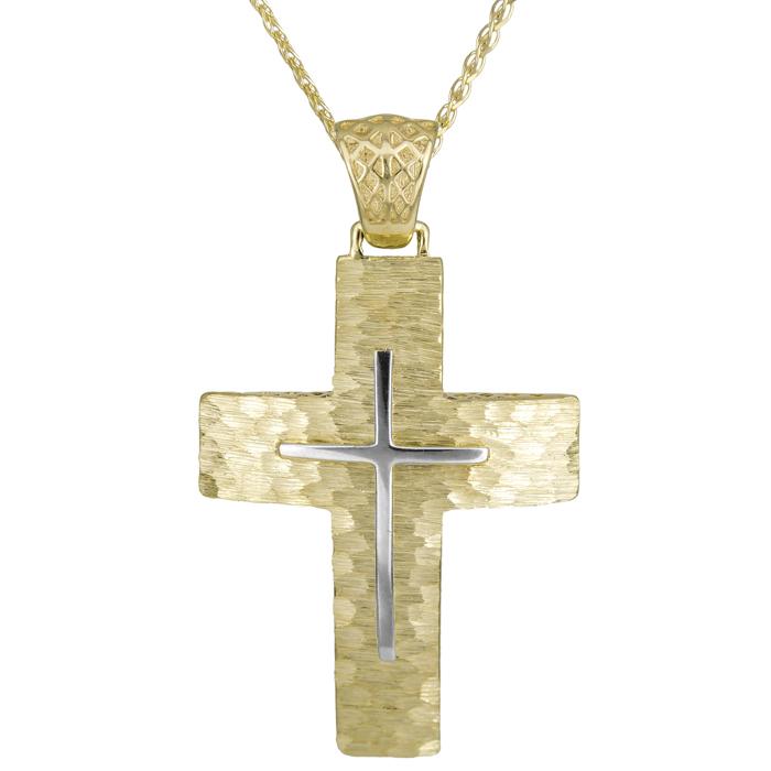 Βαπτιστικοί Σταυροί με Αλυσίδα Αντρικός κλασικός σταυρός Κ14 025558C 025558C Ανδρικό Χρυσός 14 Καράτια