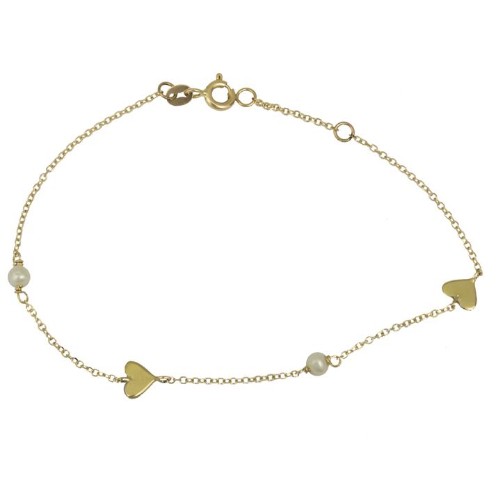 Γυναικείο βραχιόλι με καρδούλες Κ14 025562 025562 Χρυσός 14 Καράτια