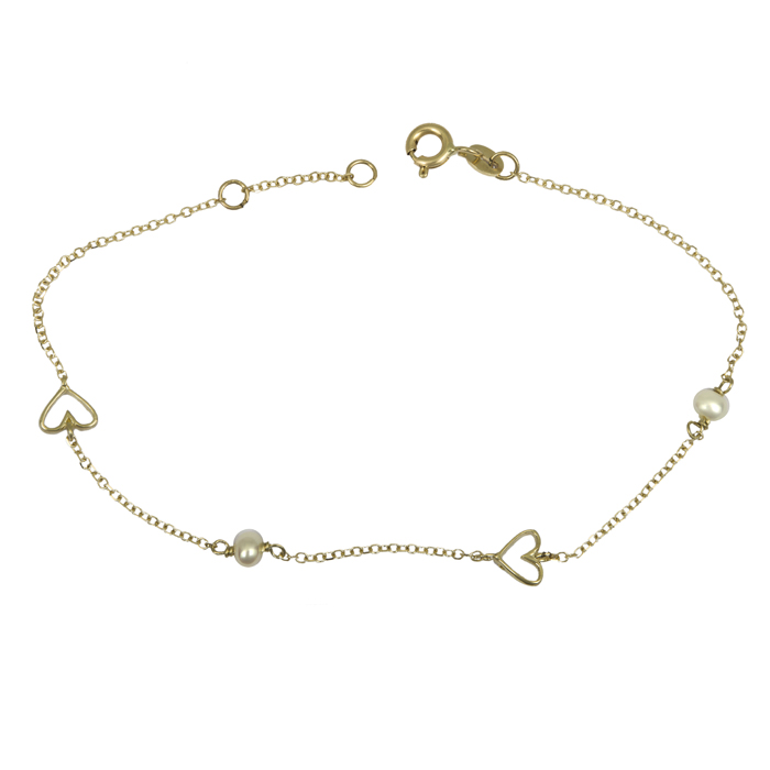 Βραχιόλι με καρδούλες και μαργαριταράκια Κ14 025563 025563 Χρυσός 14 Καράτια