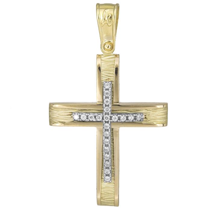 Σταυροί Βάπτισης - Αρραβώνα Γυναικείος σταυρός με πέτρες 14Κ 025569 025569 Γυναικείο Χρυσός 14 Καράτια