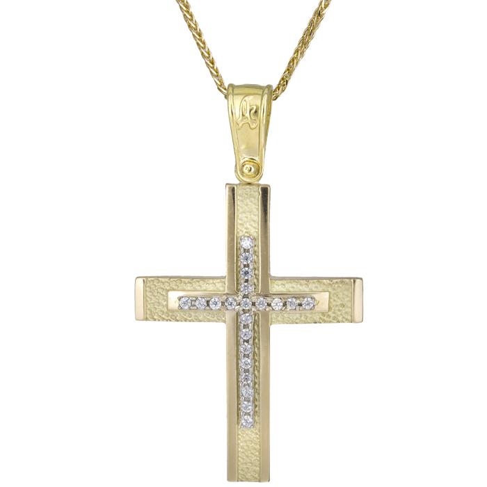 Βαπτιστικοί Σταυροί με Αλυσίδα Κλασικός γυναικείος σταυρός Κ14 025570C 025570C Γυναικείο Χρυσός 14 Καράτια