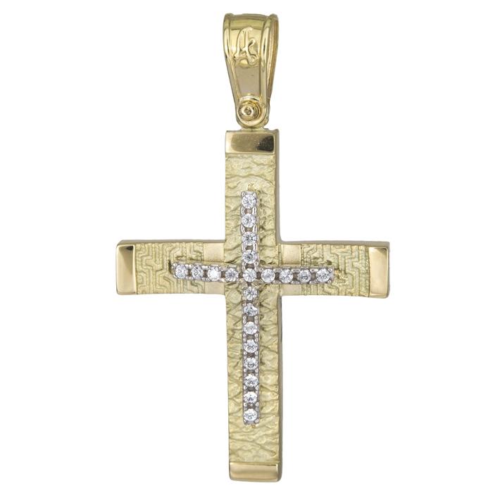 Σταυροί Βάπτισης - Αρραβώνα Βαπτιστικός σταυρός για κορίτσι 14Κ 025571 025571 Γυναικείο Χρυσός 14 Καράτια