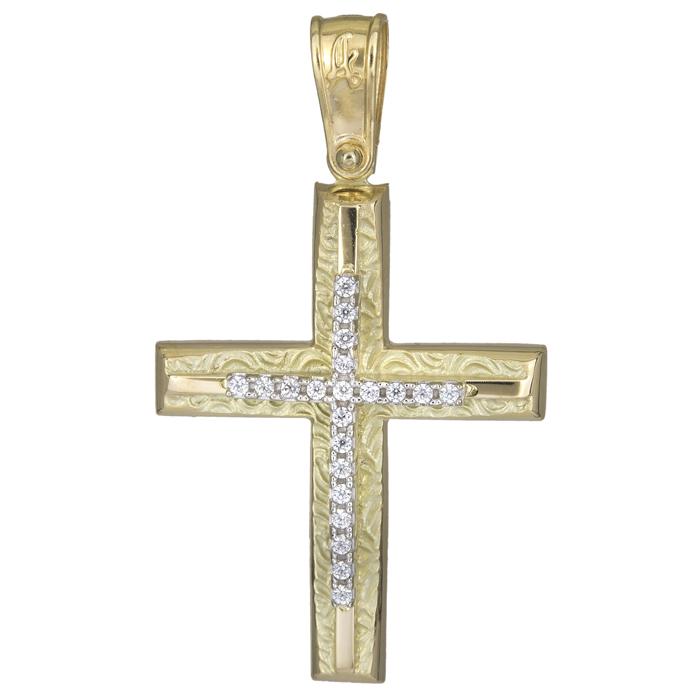 Σταυροί Βάπτισης - Αρραβώνα Γυναικείος ανάγλυφος σταυρός 14Κ 025572 025572 Γυναικείο Χρυσός 14 Καράτια