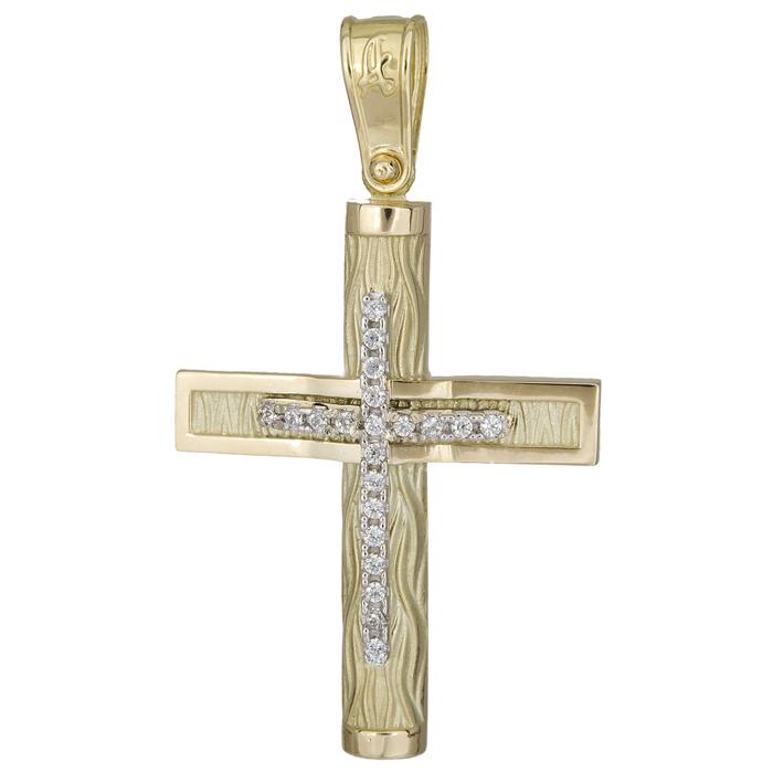 Σταυροί Βάπτισης - Αρραβώνα Ανάγλυφος σταυρός βάπτισης 14Κ 025573 025573 Γυναικείο Χρυσός 14 Καράτια