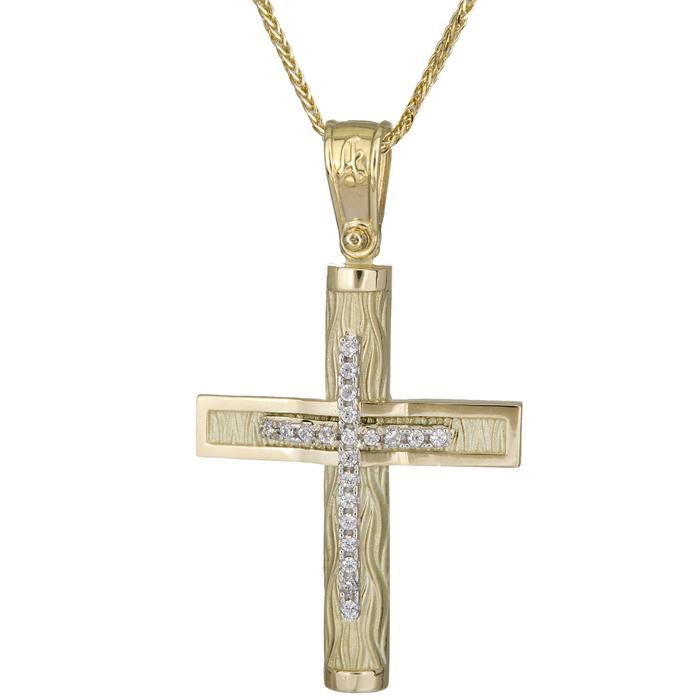 Βαπτιστικοί Σταυροί με Αλυσίδα Σταυρός βάπτισης με κάδενα Κ14 025573C 025573C Γυναικείο Χρυσός 14 Καράτια