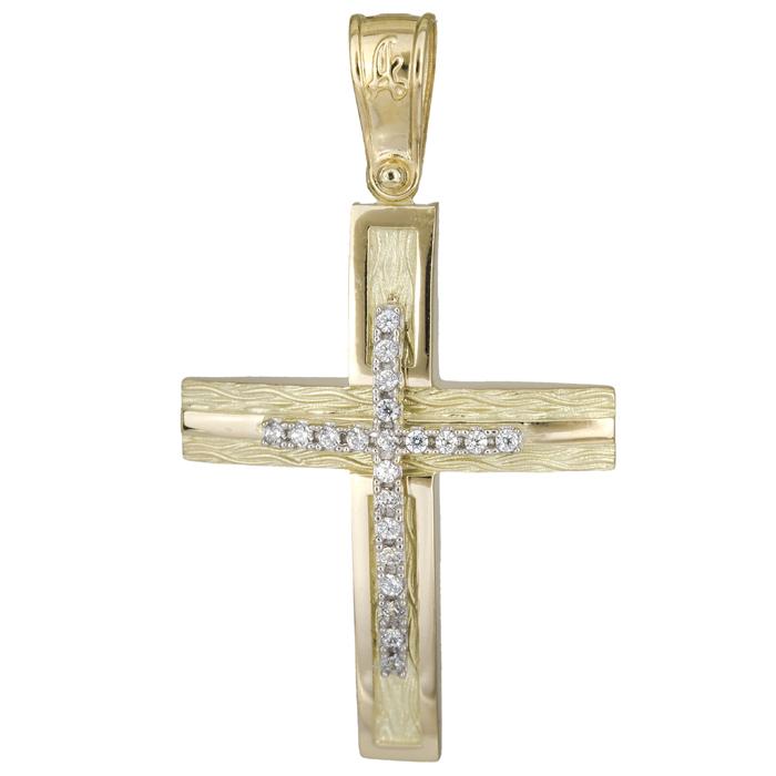 Σταυροί Βάπτισης - Αρραβώνα Δίχρωμος ανάγλυφος σταυρός 14Κ 025574 025574 Γυναικείο Χρυσός 14 Καράτια