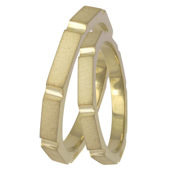 Βέρες γάμου ματ χρυσές Κ14 χειροποίητες 025587 025587 Χρυσός 14 Καράτια