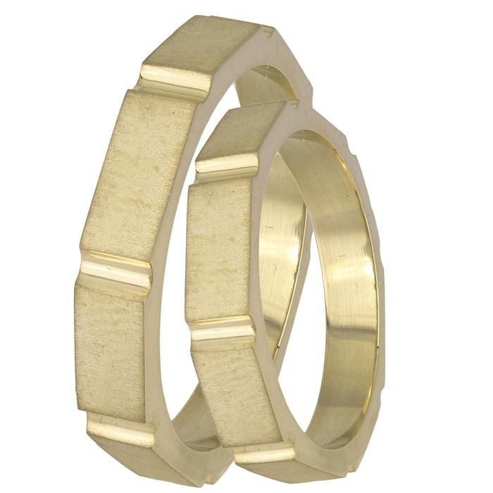 Χρυσές ματ βέρες γάμου Κ14 σε σχήμα βίδας 025588 025588 Χρυσός 14 Καράτια