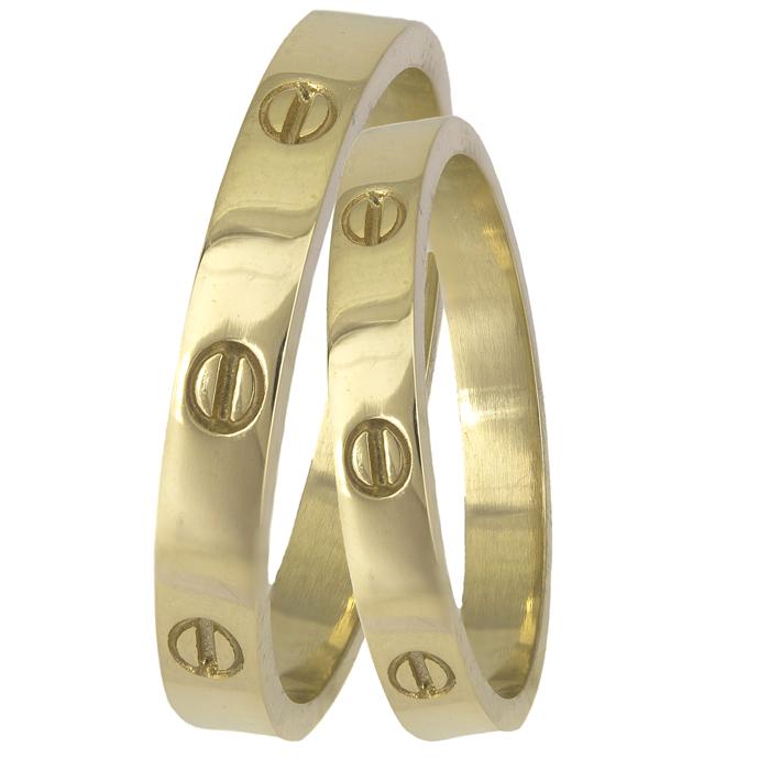 Χρυσές λουστρέ βέρες 14Κ πλακέ με σχέδιο 025589 025589 Χρυσός 14 Καράτια