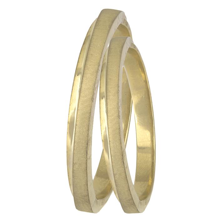 Βέρες χειροποίητες ματ - λουστρέ χρυσές Κ14 025593 025593 Χρυσός 14 Καράτια