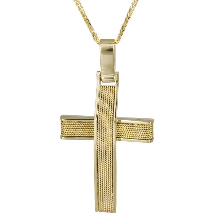 Βαπτιστικοί Σταυροί με Αλυσίδα Χρυσός συρματερός σταυρός 18Κ με καδένα 025606C 025606C Ανδρικό Χρυσός 18 Καράτια