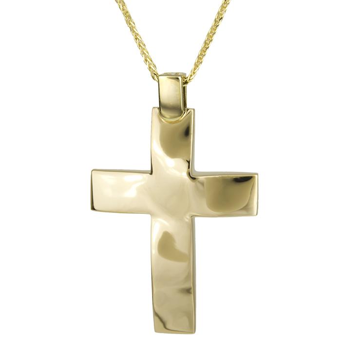 Βαπτιστικοί Σταυροί με Αλυσίδα Αντρικός σταυρός βάπτισης με αλυσίδα 18Κ 025608C 025608C Ανδρικό Χρυσός 18 Καράτια